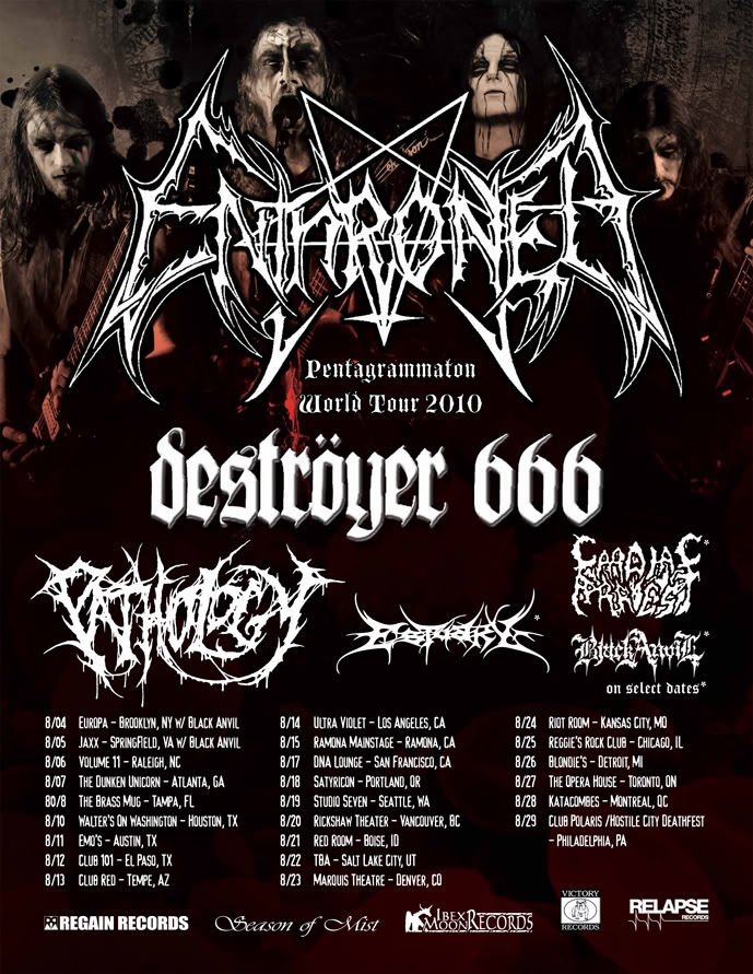 ENTHRONED Tour Update