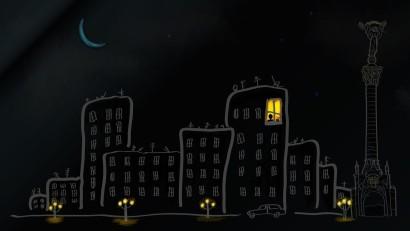 city-buildings-street-car-lights-sky-stars-moon-night-art-1
