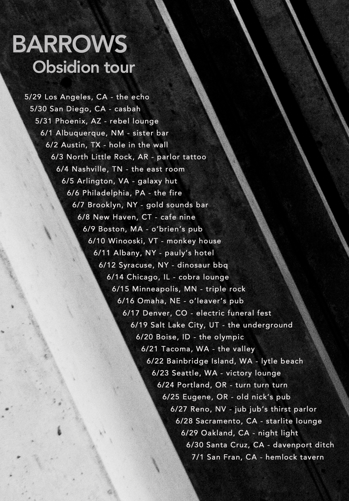BARROWS OBSIDION TOUR FLYER