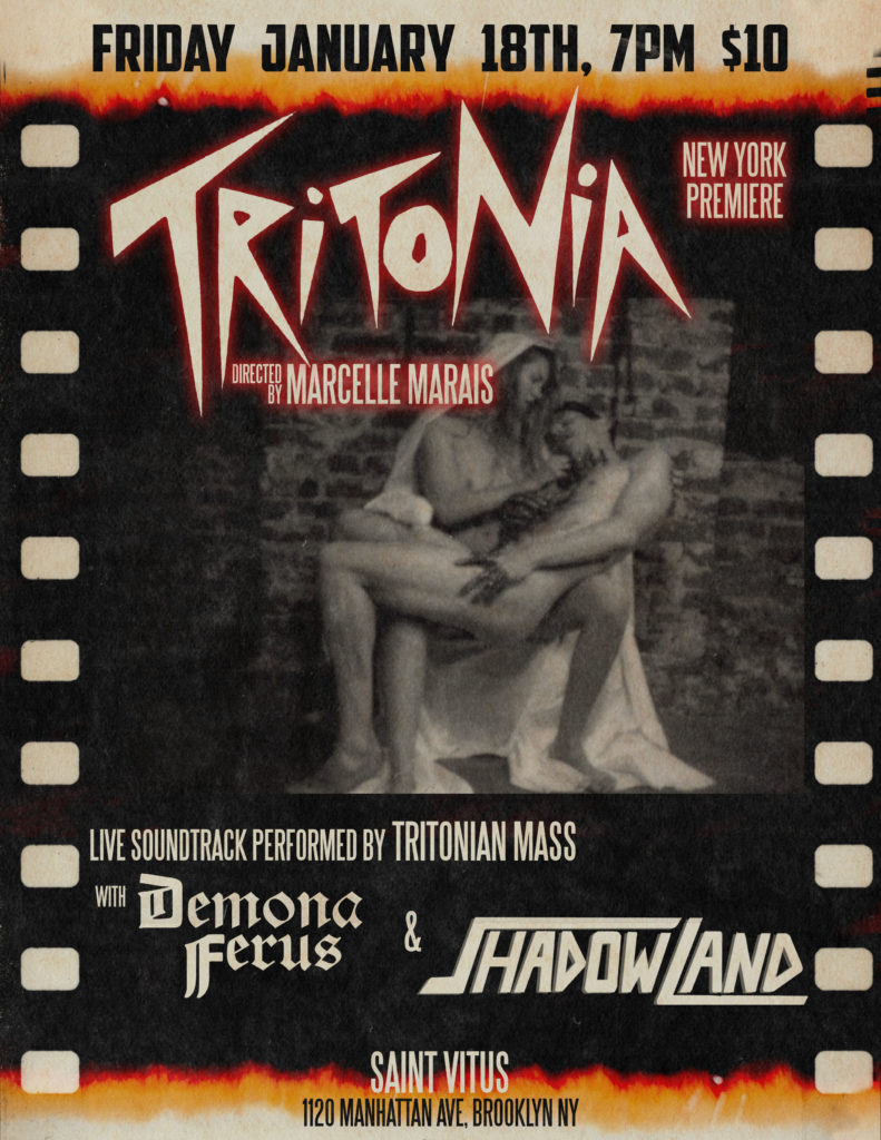 TriTonia: Erotic Marcelle Marais-Directed Thriller To Be Premiered Tonight At Saint Vitus Bar Accompanied By Live Musical Score Performance By Tritonian Mass; Trailer Posted